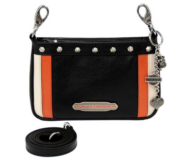 Harley-Davidson Women's Color Block Hip Bag - Black, Org & Cream CB6363L-MLT - Wisconsin Harley-Davidson