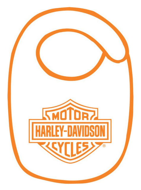 Harley-Davidson Baby Boys' Bib Set, Orange Bar & Shield, White BI30279 - Wisconsin Harley-Davidson