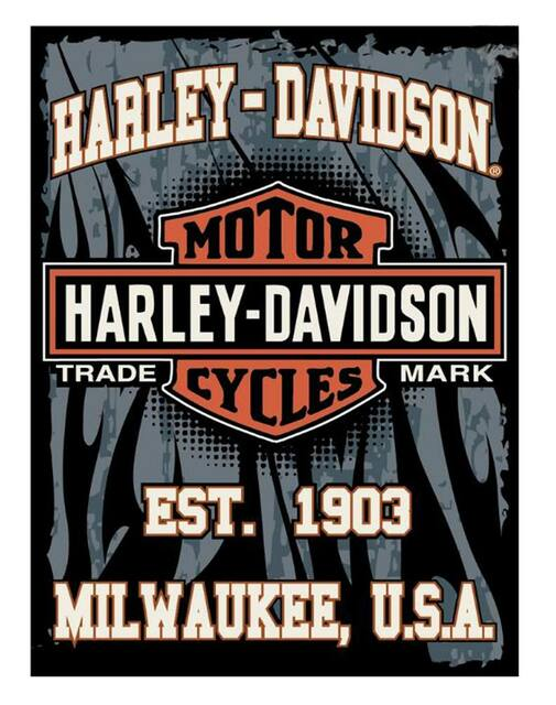 Harley-Davidson 60 x 80 1903 Milwaukee Bar & Shield Raschel Blanket NW168596 - Wisconsin Harley-Davidson