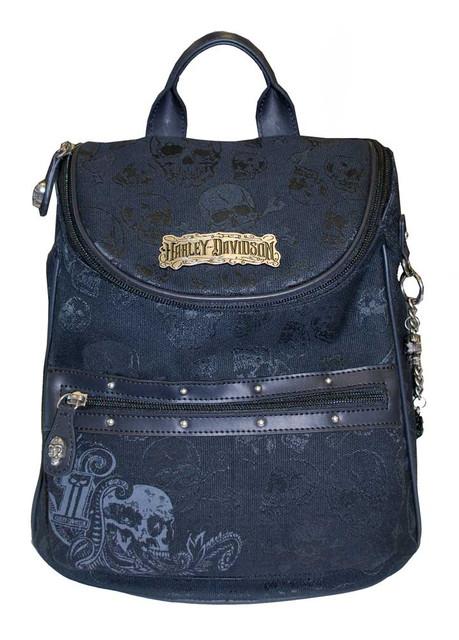Harley-Davidson Women's Skull Jacquard Backpack Black Cotton Blend SJ2146J-Black - Wisconsin Harley-Davidson
