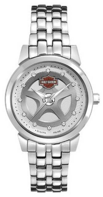 Harley-Davidson Women's Bulova Crystal Bracelet Wrist Watch 76L160 - Wisconsin Harley-Davidson