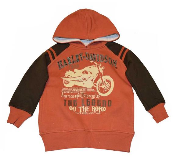 Harley-Davidson Little Boys' Pullover Hooded Sweatshirt, Burnt Org/Bwn 3281336 - Wisconsin Harley-Davidson