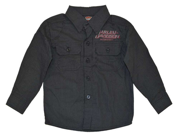 Harley-Davidson Little Boys' Shop Shirt, Long Sleeve Striped, Black 4381586 - Wisconsin Harley-Davidson