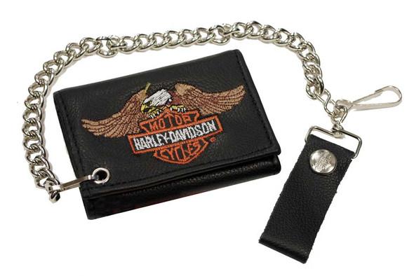 Harley-Davidson Men's Eagle Bar & Shield Tri-Fold Biker Chain Wallet TC813H-4 - Wisconsin Harley-Davidson