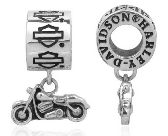 Harley-Davidson Bar & Shield Dangle Motorcycle Sterling Silver Ride Bead HDD0062 - Wisconsin Harley-Davidson