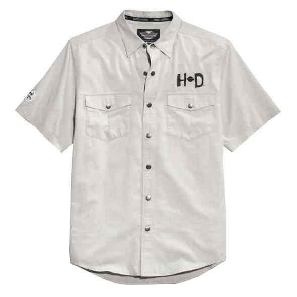 Harley-Davidson Men's H-D Rocker Woven Shirt, Wrinkle-Resistant Tee 96491-15VM - Wisconsin Harley-Davidson