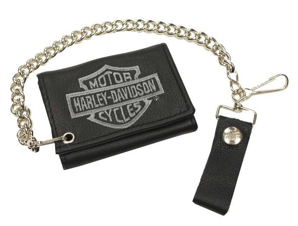 Harley-Davidson Men's Gray Bar & Shield Tri-Fold Biker Chain Wallet TC813H-2G - Wisconsin Harley-Davidson