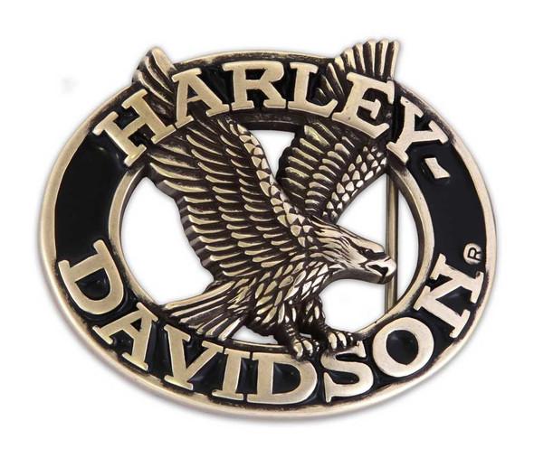 Harley-Davidson Mens Belt Buckle Brushed Chrome & Black  Eagle Font  HDMBU10076 - Wisconsin Harley-Davidson