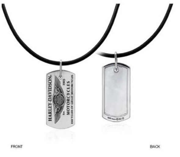 Harley-Davidson Men's 110th Anniversary Dog Chain Necklace Leather HDAN-N03/22 - Wisconsin Harley-Davidson