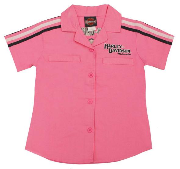 Harley-Davidson Big Girls' Pink Cotton Button Twill Pit Crew Shirt 0141166 - Wisconsin Harley-Davidson