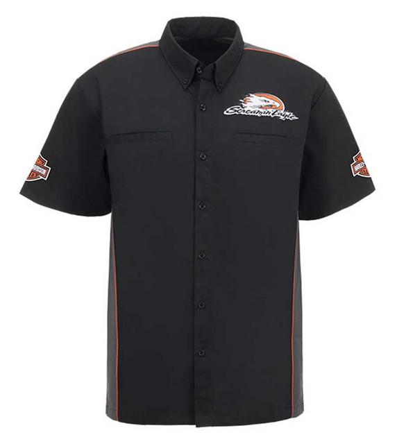 Harley-Davidson Men's Screamin' Eagle Piped Crew Woven Shirt, Black HARLMW0053 - Wisconsin Harley-Davidson