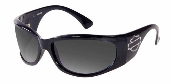 Harley-Davidson Womens Sun Bling Sunglasses Rhinestone Shield Black HDS7001BLK-3 - Wisconsin Harley-Davidson