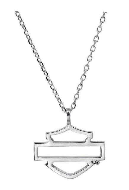 Harley-Davidson Women's Necklace, Silhouette Bar & Shield Logo, Silver HDN0292 - Wisconsin Harley-Davidson