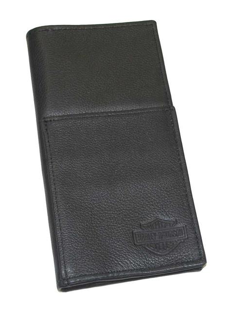 Harley-Davidson Bar & Shield Travel Wallet Black Leather, 8'' x 4'' HD832 - Wisconsin Harley-Davidson