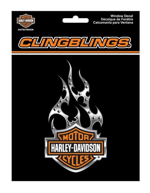 Harley-Davidson Orange Bar & Shield Flames Cling Bling Window Decal CG1121 - Wisconsin Harley-Davidson