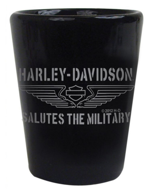 Harley-Davidson Shot Glass, H-D Tribute Salutes The Military, 1.5 oz. SG127430 - Wisconsin Harley-Davidson