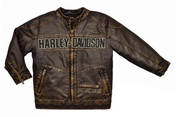 Harley-Davidson Big Boys' Embroidered Laundered P.U. Biker Jacket, 3396084 - Wisconsin Harley-Davidson