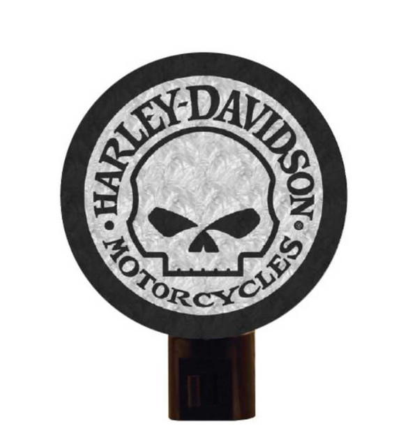 Harley-Davidson Art Glass Night Light, Willie G. Skull Logo Nite Lite HD-WGS-246 - Wisconsin Harley-Davidson
