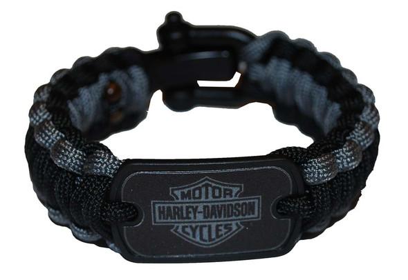 Harley-Davidson Regular Survival Bracelet Strap Nylon Black/Grey 8'' 201106781 - Wisconsin Harley-Davidson