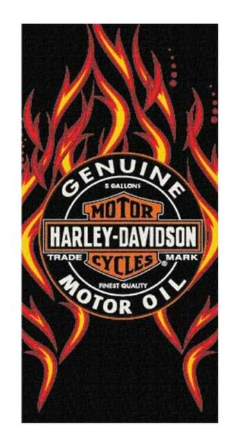 Harley-Davidson H-D Fire & Oil Beach Towel Black 28 x 58 Inches NW673540 - Wisconsin Harley-Davidson