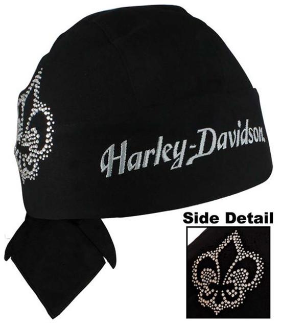 Harley-Davidson Womens Studded Bling Knock Out Black Head Wrap HW122030 - Wisconsin Harley-Davidson