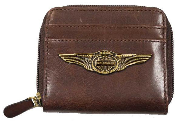 Harley-Davidson 110th Anniversary Zip Around Wallet Brown Leather AL1178L-Brown - Wisconsin Harley-Davidson