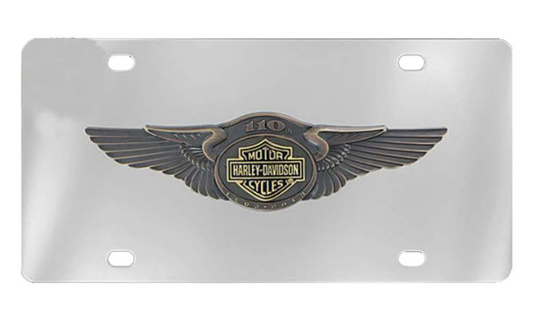 Harley-Davidson 110th Anniversary Bar & Shield License Plate Silver HDLPD237 - Wisconsin Harley-Davidson