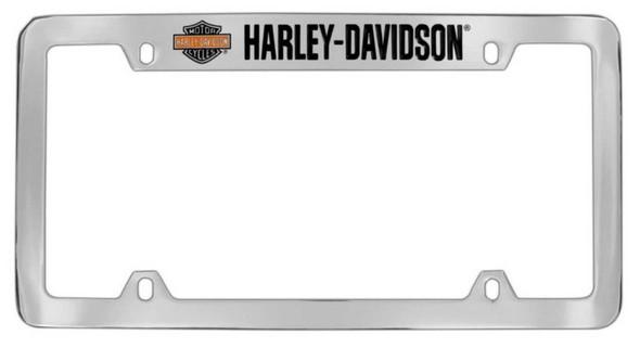 Harley-Davidson Bar & Shield H-D Script License Plate Frame Chrome HDLF19-U - Wisconsin Harley-Davidson
