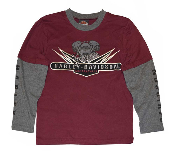 Harley-Davidson Big Boys' Shirt, V-Twin Jersey Doubler LS Tee 4391574 - Wisconsin Harley-Davidson