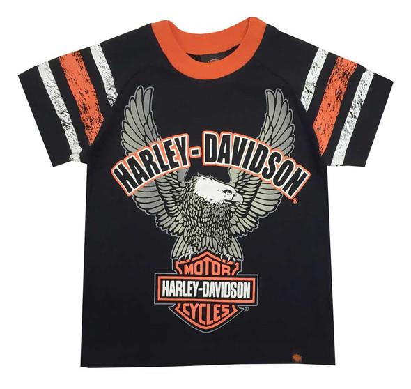 Harley-Davidson Little Boys' Up-Wing Eagle Raglan Jersey Tee, Black 1070565 - Wisconsin Harley-Davidson