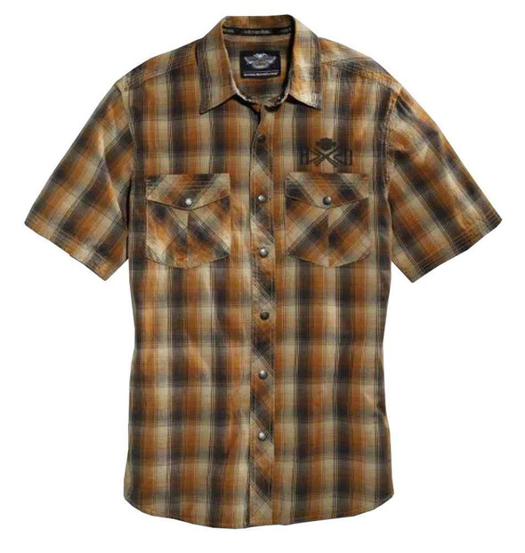 Harley-Davidson Men's Plaid Woven Cotton S/S Shirt, Browns/Orange. 96004-16VM - Wisconsin Harley-Davidson