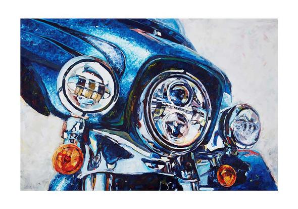 Harley-Davidson Daytona Blue Poster, Watercolor Motorcycle, 24 x 36 in ZHDFA0102 - Wisconsin Harley-Davidson