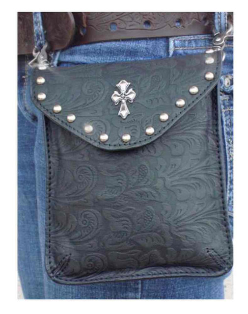 That's A Wrap Women's Embellished Cross Side Pouch Belt Bag, Black Leather 98161 - Wisconsin Harley-Davidson