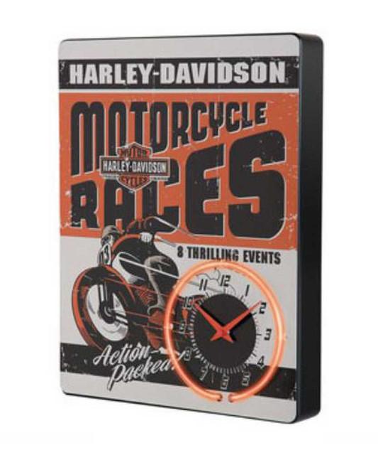 Harley-Davidson Race Day Red Neon Clock HDL-16627 - Wisconsin Harley-Davidson