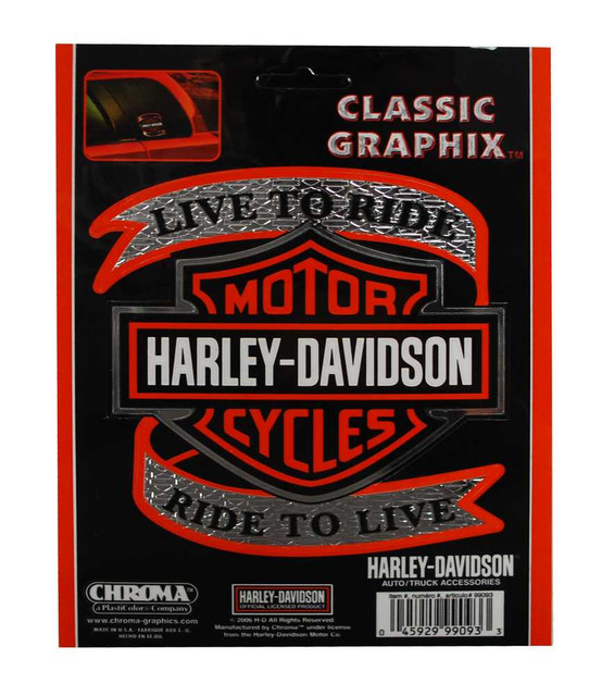 Harley-Davidson Live To Ride Orange Bar & Shield Decal, 5 x 5.5 Inch CG99093 - Wisconsin Harley-Davidson