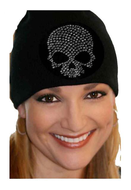 That's A Wrap Women's Beanie, Black Rhinestone Skull Cap, Black B3323-BLACK - Wisconsin Harley-Davidson
