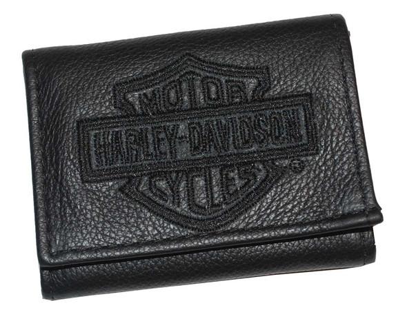 Harley-Davidson Men's Embroidered Bar & Shield Tri-Fold Wallet Leather FT805H-2B - Wisconsin Harley-Davidson