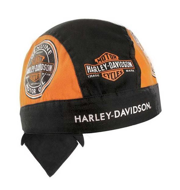 Harley-Davidson Men's Head Wrap, Motor Oil Bar & Shield, Black & Orange HW46964 - Wisconsin Harley-Davidson