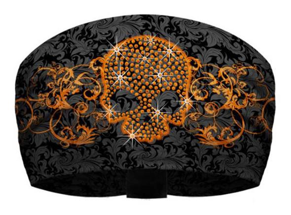 That's A Wrap Women's Skull & Scroll Black/Orange Knotty Band Head Wrap. KB2925 - Wisconsin Harley-Davidson