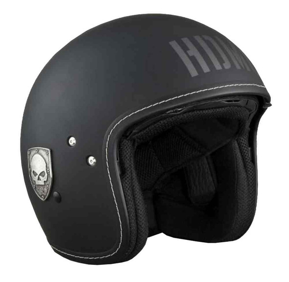 Harley-Davidson Men's 3/4 Helmet, Blast Willie G Skull, Matte Black 97321-16VM - Wisconsin Harley-Davidson