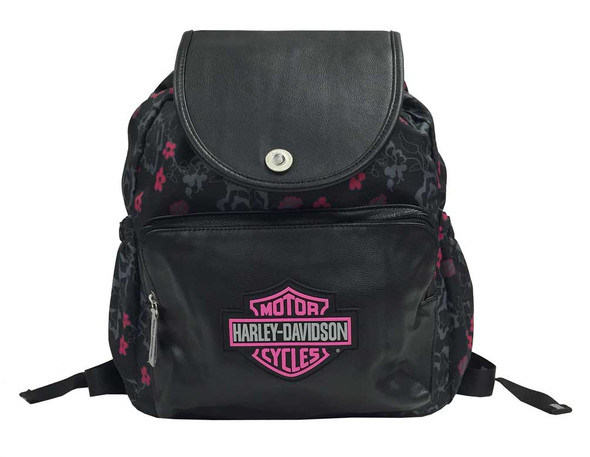 Harley-Davidson Girls' Bar & Shield Cinch Top Flowered Backpack, Black 7130515 - Wisconsin Harley-Davidson