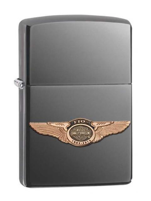 Harley-Davidson 110th Anniversary 3D Wings Logo Black Ice Zippo Lighter 28501 - Wisconsin Harley-Davidson