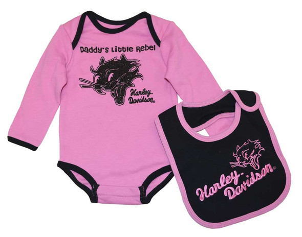 Harley-Davidson Baby Girls' Creeper Set, Daddy's Little Rebel Infant 4212244 - Wisconsin Harley-Davidson
