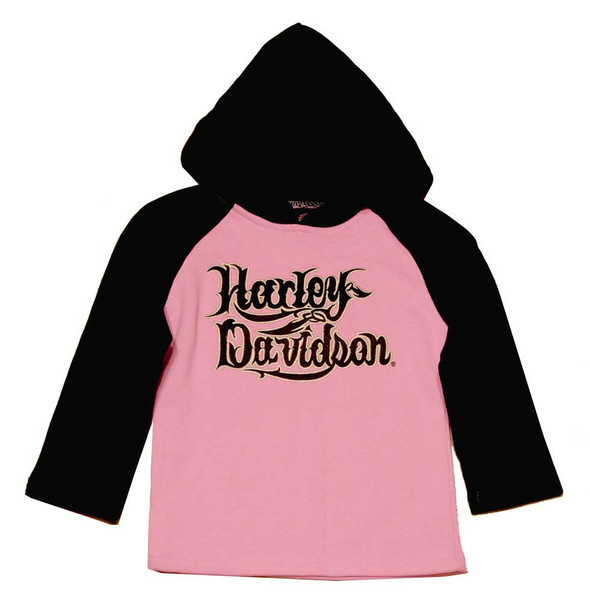Harley-Davidson Little Girls' Fleece Pullover, Little Rebel Pink Hoodie 3221318 - Wisconsin Harley-Davidson
