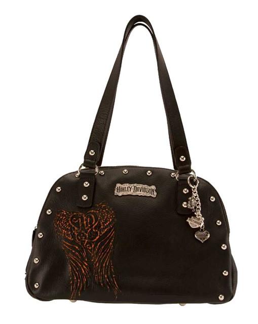 Harley-Davidson Women's Satchel Purse Bag, Punk Black Leather PK9281L-ORGBLK - Wisconsin Harley-Davidson