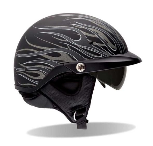 BELL Pit Boss Ultra-Light Biker Helmet Sun Shade Matte Black/Titanium Flame 7001 - Wisconsin Harley-Davidson