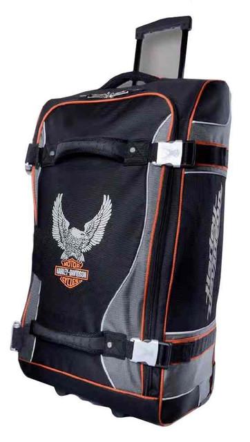 Harley-Davidson 29 Inch Luggage, Up-Wing Eagle Bar & Shield, Silver/Black 99329 - Wisconsin Harley-Davidson
