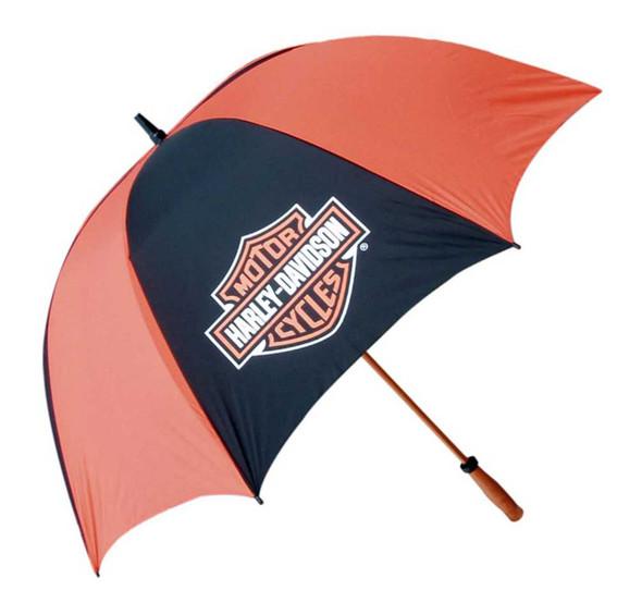 Harley-Davidson Bar & Shield Golf Umbrella, Black & Orange, 62 Inch. UMB302644 - Wisconsin Harley-Davidson