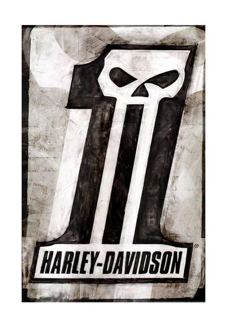 Harley-Davidson Dark Custom Poster, Distressed #1 Skull Logo, 24x36 in ZHDFA0101 - Wisconsin Harley-Davidson