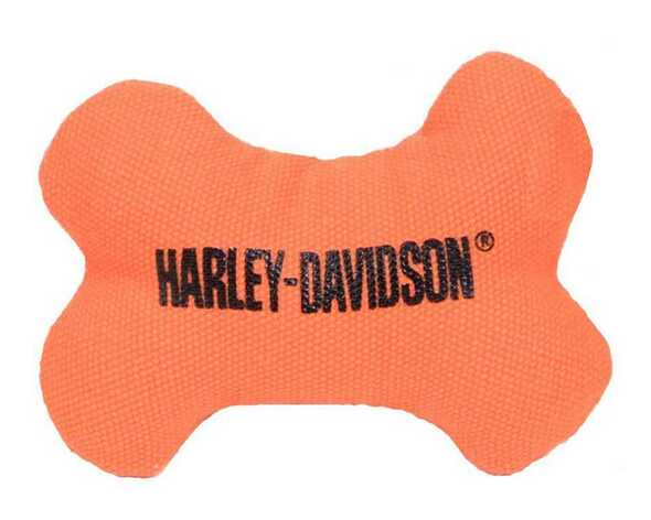 Harley-Davidson H-D Bone Squeaker Pet Toy 4 Inch Canvas Orange H8300-H-K03DOG - Wisconsin Harley-Davidson